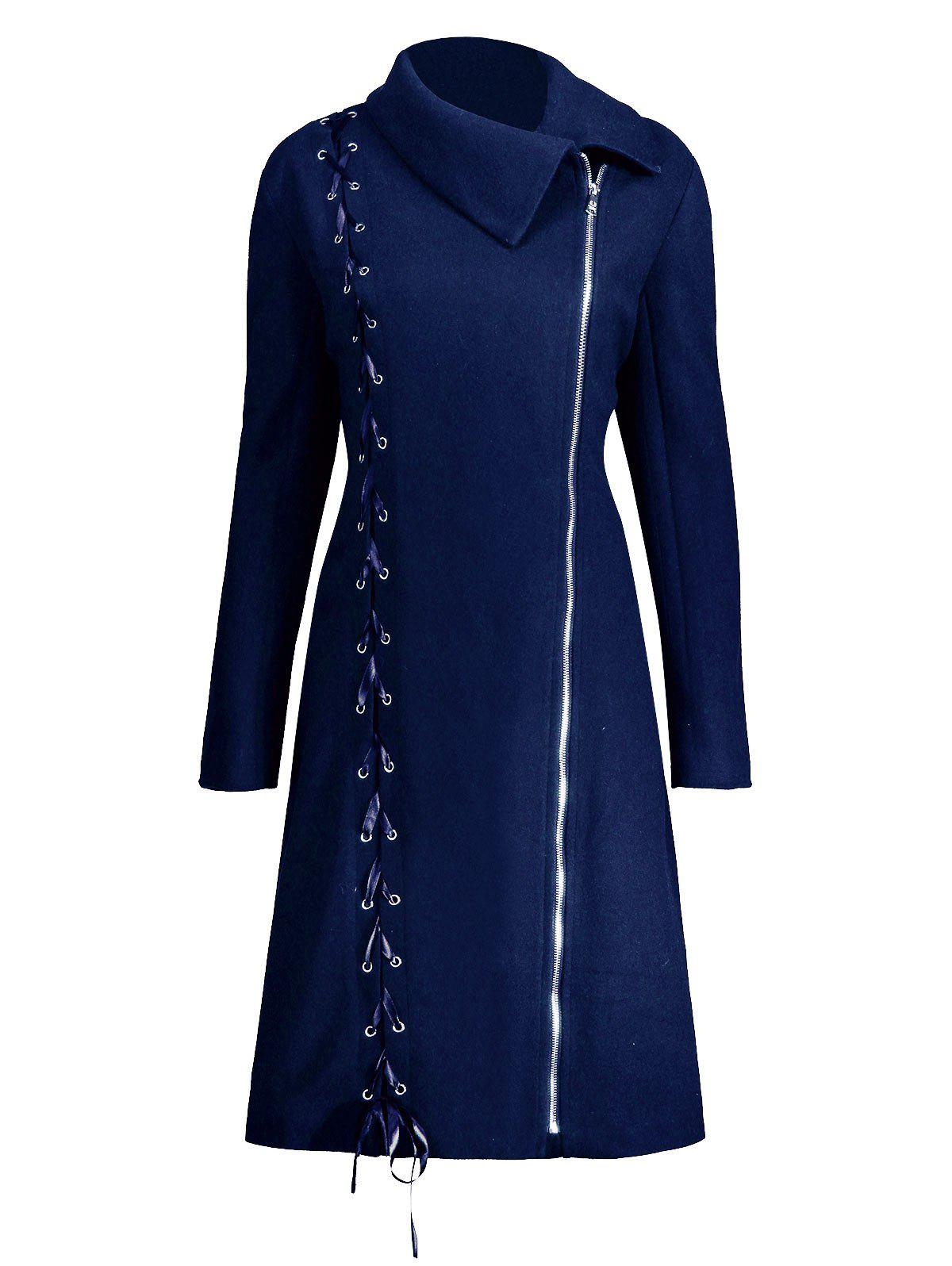 Zip Up Plus Size Lace Up CoatWOMEN<br><br>Size: 2XL; Color: BLUE; Clothes Type: Others; Material: Cotton Blends,Polyester,Spandex; Type: Slim; Shirt Length: Long; Sleeve Length: Full; Collar: Lapel; Pattern Type: Solid; Style: Fashion; Season: Fall,Winter; Weight: 1.0900kg; Package Contents: 1 x Coat;