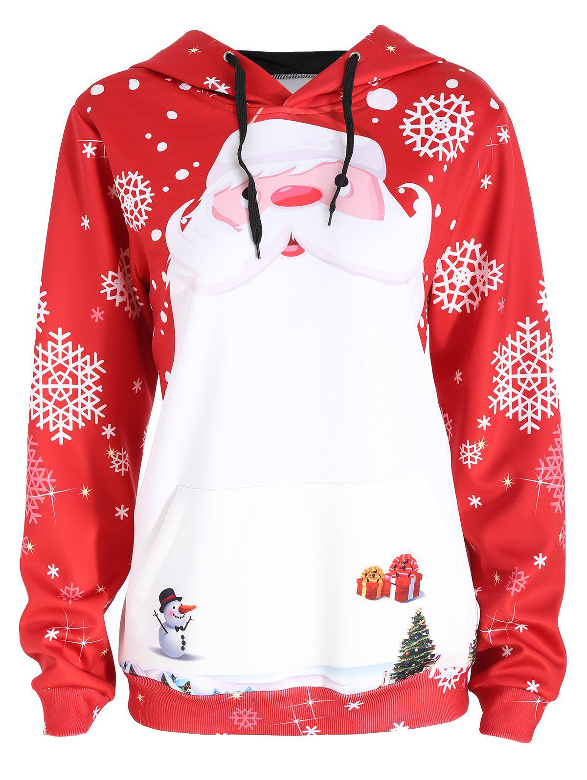 Plus Size Christmas Santa Claus Snowflake HoodieWOMEN<br><br>Size: 3XL; Color: RED; Material: Cotton,Polyester; Shirt Length: Regular; Sleeve Length: Full; Style: Casual; Pattern Style: Print; Season: Fall; Weight: 0.3500kg; Package Contents: 1 x Hoodie;