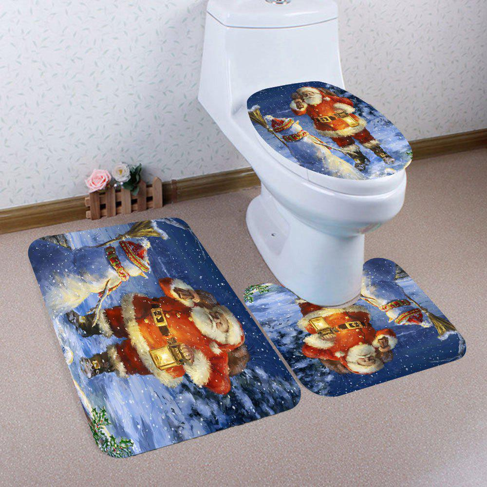 Outfits Nonslip 3Pcs Santa Claus and Snowman Pattern Bathroom Mats Set