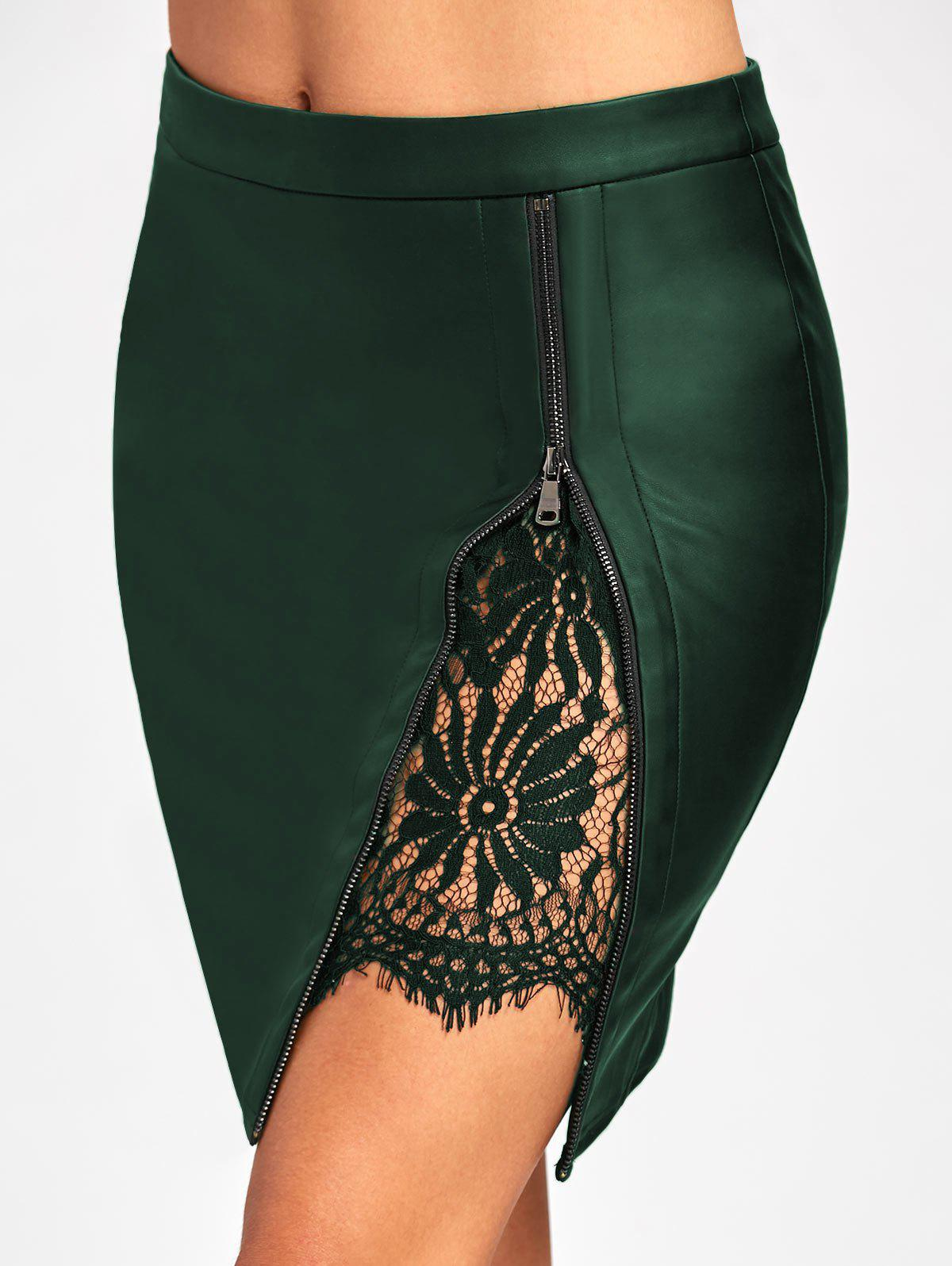 Lace Insert Faux Leather Bodycon SkirtWOMEN<br><br>Size: L; Color: DEEP GREEN; Material: Faux Leather,Polyester; Length: Mini; Silhouette: Bodycon; Pattern Type: Solid; Embellishment: Lace; Season: Fall,Spring,Winter; Weight: 0.2700kg; Package Contents: 1 x Skirt;