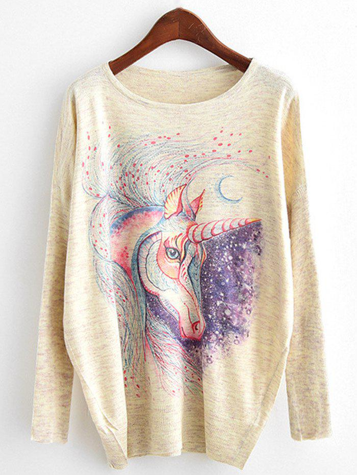 Dolman Sleeve Unicorn Printed KnitwearWOMEN<br><br>Size: ONE SIZE; Color: BEIGE; Type: Pullovers; Material: Cotton,Polyester; Sleeve Length: Full; Collar: Round Neck; Style: Fashion; Pattern Type: Print; Season: Fall,Spring; Weight: 0.3200kg; Package Contents: 1 x Knitwear;