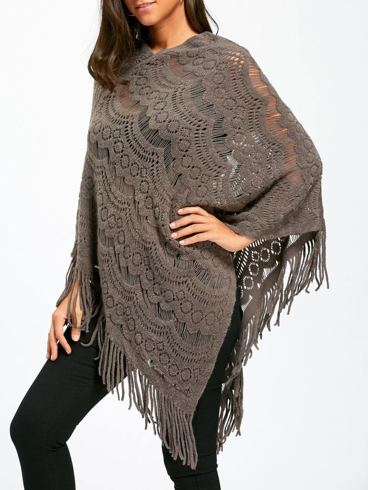 Asymmetric Fringed Pullover Chunky Poncho SweaterWOMEN<br><br>Size: ONE SIZE; Color: GRAY; Type: Pullovers; Material: Polyester,Spandex; Sleeve Length: Full; Collar: Round Neck; Style: Fashion; Pattern Type: Solid; Season: Fall,Spring; Weight: 0.3500kg; Package Contents: 1 x Sweater;