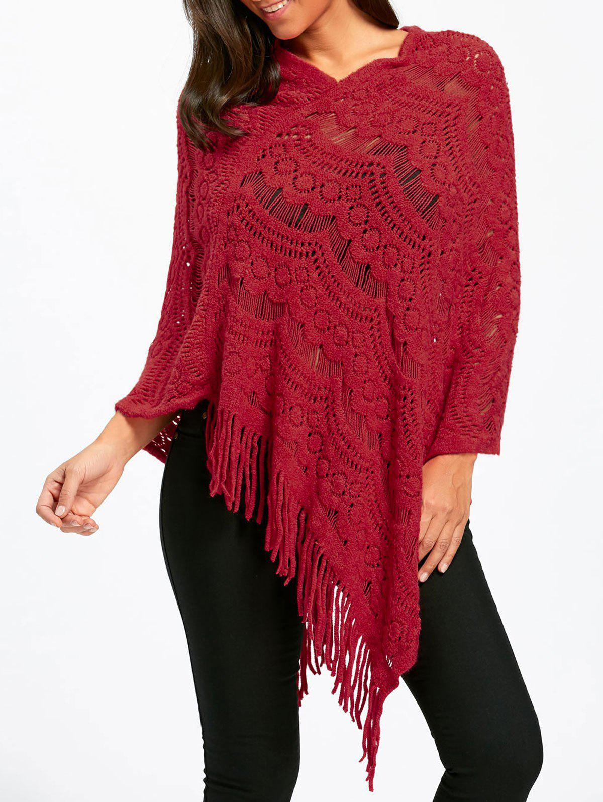Asymmetric Fringed Pullover Chunky Poncho SweaterWOMEN<br><br>Size: ONE SIZE; Color: RED; Type: Pullovers; Material: Polyester,Spandex; Sleeve Length: Full; Collar: Round Neck; Style: Fashion; Pattern Type: Solid; Season: Fall,Spring; Weight: 0.3500kg; Package Contents: 1 x Sweater;