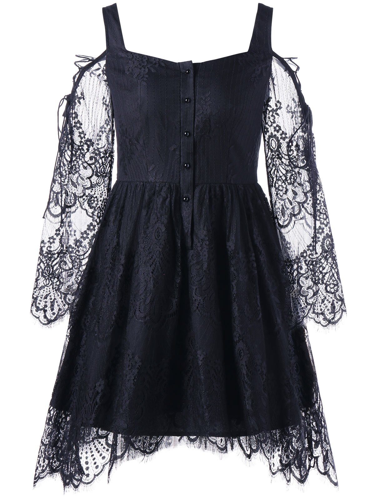 Best Halloween Eyelash Lace Cold Shoulder Dress
