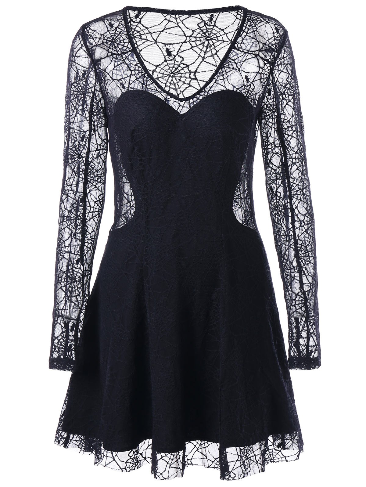 Halloween Spider Lace See Thru DressWOMEN<br><br>Size: L; Color: BLACK; Style: Sexy &amp; Club; Material: Polyester; Silhouette: A-Line; Dresses Length: Mini; Neckline: Scoop Neck; Sleeve Length: Long Sleeves; Embellishment: Lace; Pattern Type: Solid Color; With Belt: No; Season: Fall,Spring; Weight: 0.2480kg; Package Contents: 1 x Dress; Occasion: Causal,Club,Night Out;