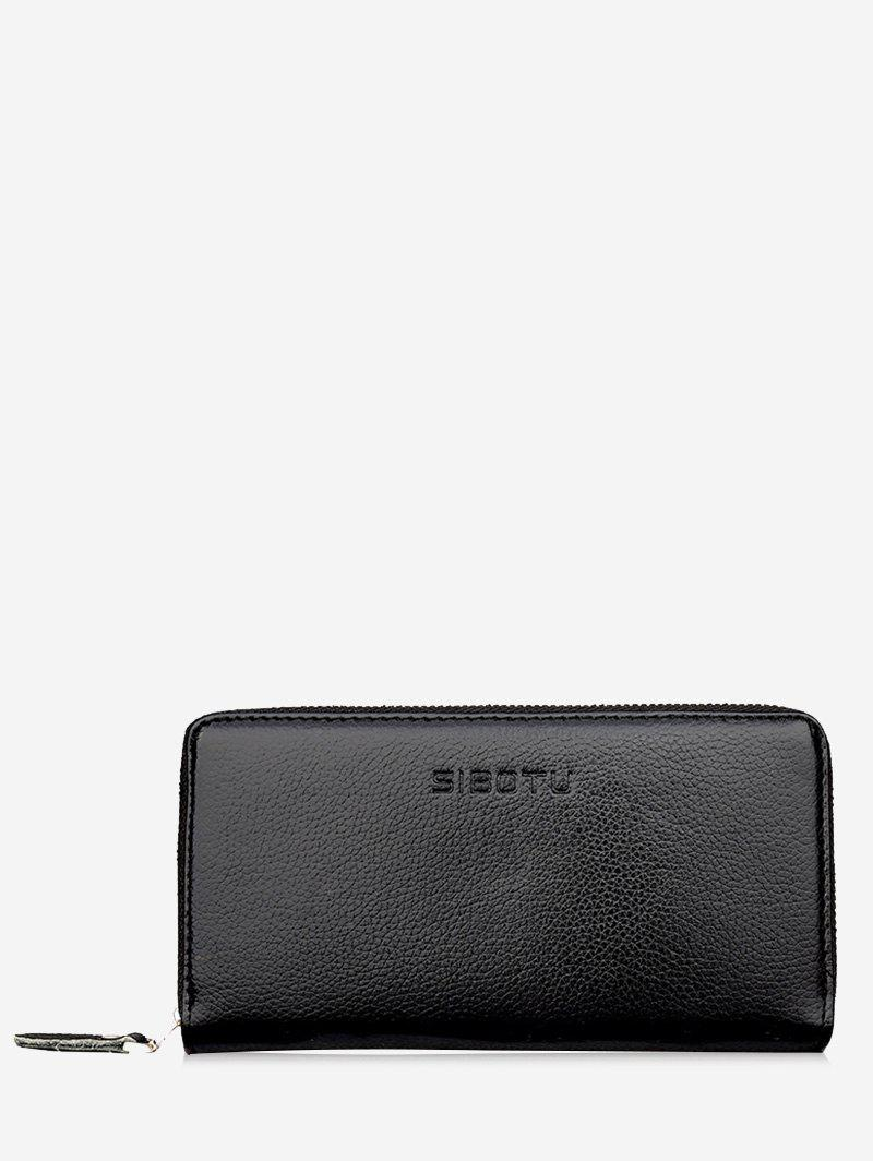 Zip Faux Leather Clutch WalletSHOES &amp; BAGS<br><br>Color: BLACK; Wallets Type: Clutch Wallets; Gender: For Men; Style: Fashion; Closure Type: Zipper; Pattern Type: Solid; Main Material: PU; Length: 20CM; Width: 2CM; Height: 10CM; Weight: 0.2700kg; Package Contents: 1 x Wallet;