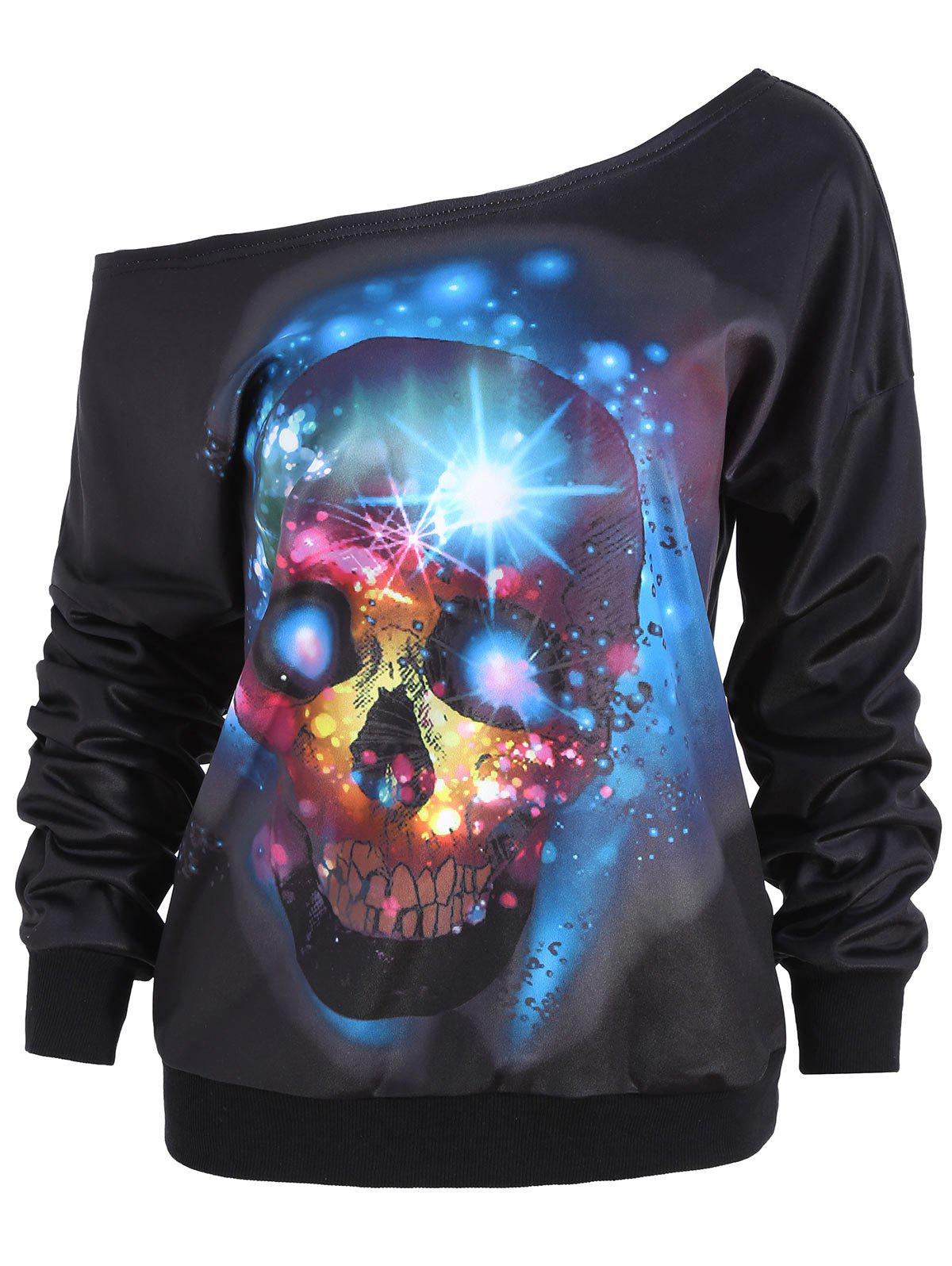 Latest Halloween Skull Flocking Skew Neck Sweatshirt
