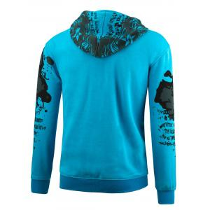 Zip Up Plus Size Printed Hoodie -