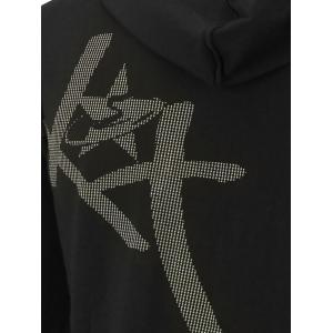 Kangaroo Pocket Zip Up Printed Hoodie - Noir 4XL