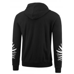 Wings Print Zip Up Plus Size Hoodie - BLACK 4XL