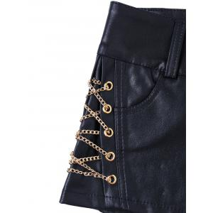 Short Metal Lace Up Faux Leather Shorts -