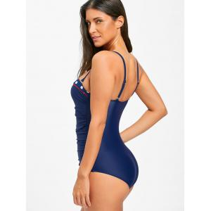 Push Up Ruched One Piece Swimsuit - CERULEAN L