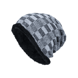 Outdoor Checked Pattern Velvet Slouchy Beanie -