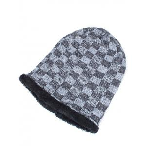 Outdoor Checked Pattern Velvet Slouchy Beanie - GRAY