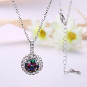 Faux Gemstone Flower Round Collarbone Necklace -