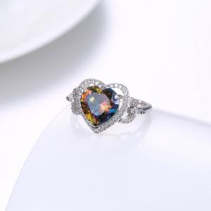 Faux Gemstone Sparkly Heart Finger Ring - Argent 6