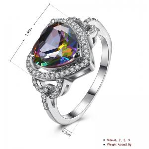 Faux Gemstone Sparkly Heart Finger Ring - Argent 7