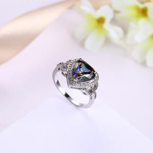 Faux Gemstone Sparkly Heart Finger Ring - Argent 8