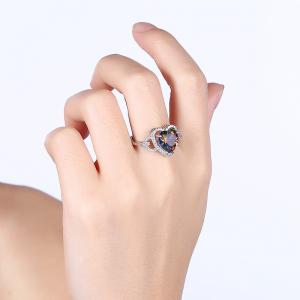 Faux Gemstone Sparkly Heart Finger Ring - Argent 9