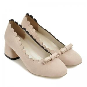 Scallop Bowknot Chunky Pumps - BEIGE 40