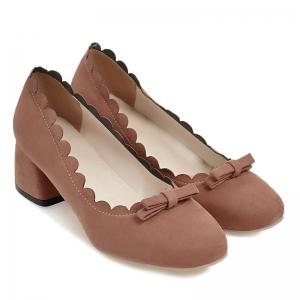 Scallop Bowknot Chunky Pumps - JACINTH 41