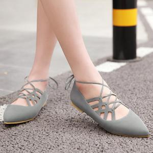 Hollow Out Pointed Toe Flat Shoes - GRAY 38