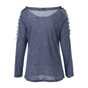 Lace Up Raglan Sleeve Pullover Sweater -