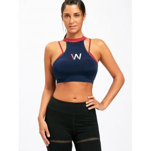 Padded W Graphic Mock Neck Sports Bra -