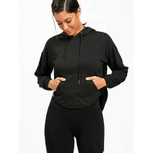Kangaroo Pocket Back Cutout Hoodie - BLACK S