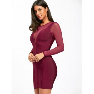 Mesh Panel Sheer Long Sleeve Bandage Dress - PURPLISH RED S