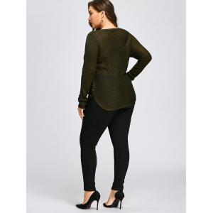 Knit Plus Size Button Embellished Sheer Sweater -