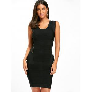 Side Cross Mesh Insert Bandage Dress - BLACK S