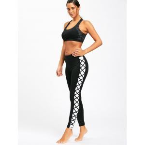 Contrast Side Criss Cross Yoga Slim Leggings -