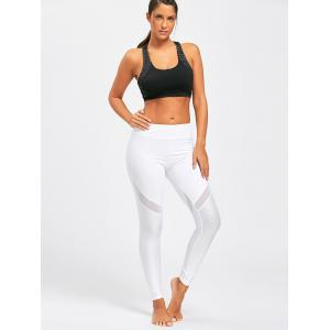 Midi Waist Sheer Mesh Panel Workout Leggings - WHITE S