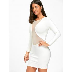 Long Sleeve Mesh Insert Bandage Dress - WHITE M