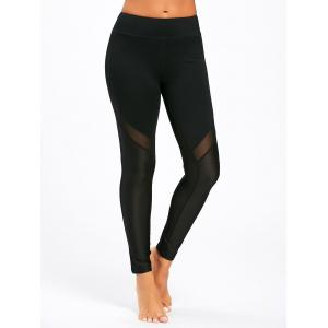 Midi Waist Sheer Mesh Panel Workout Leggings -