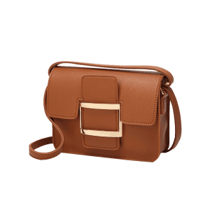 Metal Faux Leather Buckle Strap Crossbody Bag - BROWN