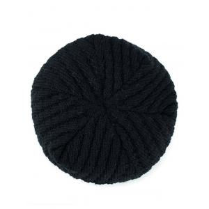 Star Label Embellished Stripy Thicken Knit Hat -