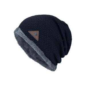 Étiquette triangulaire Embellished Fluffy Panel Thicken Knit Hat - Bleu Violet