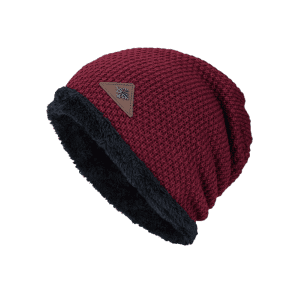 Triangle Label Embellished Fluffy Panel Thicken Knit Hat - DARK RED