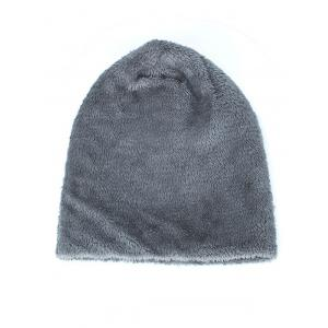 Triangle Label Embellished Fluffy Panel Thicken Knit Hat -