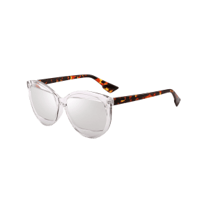 Eyebrow Embellished Cat Eye Sunglasses - TRANSPARENT