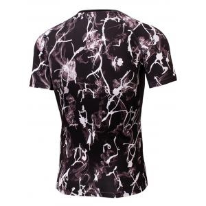 Fitted Tie Dye Print Openwork panel Quick Dry T-shirt - BLACK 2XL