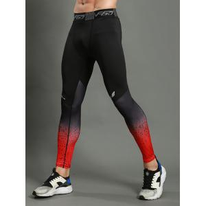 Dots Paint Dip Dye Stretch Skinny Athletic Pants - RED M