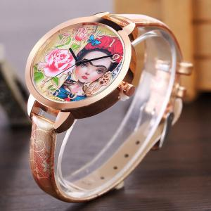 Flower Girl Face Faux Leather Strap Watch -