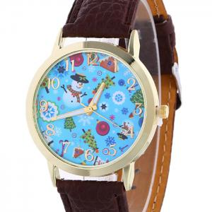 Christmas Theme Face Quartz Watch - BROWN