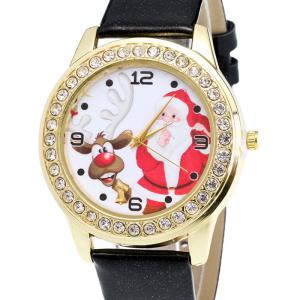 Christmas Santa Deer Face Rhinestone Number Watch - BLACK