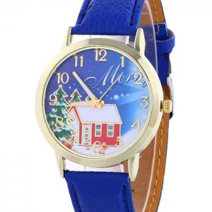 Christmas Tree House Face Quartz Watch - BLUE
