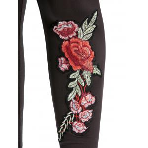 High Waisted Embroidered Leggings - BLACK S
