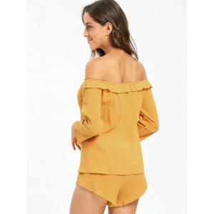 Off The Shoulder Lace Up Blouse with Shorts - DEEP YELLOW L